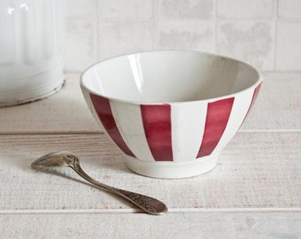 """Vintage French Café Au Lait """"Badonviller"""" Burgundy Striped Bowl - Breakfast Bowl - French Country Kitchen - Shabby Chic & Country Style"""
