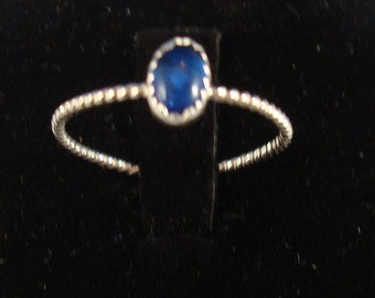 Sapphire blue color vintage 6x4 Swarovski stone in new Ring -  Eco-friendly recycled sterling silver - custom made in your size