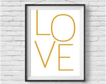 LOVE Art, Mustard Print, Typography Art, Minimalist Print, Love Poster, Mustard Decor, Minimalist Art, Digital Print, Modern Art, Printable