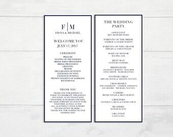 O4 | Printable Wedding Program | Navy Blue & White | Dark Colors | Formal Wedding Program |