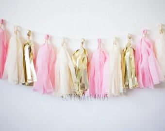 Blush Tassel Garland, Blush Gold Tassel Garland, Blush Garland, Light Pink Garland, Pink Garland, Baby Pink Garland, Baby Girl Shower Decor