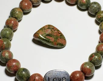 8mm Unakite~22 Beads & Love Charm *Free gift with purchase*