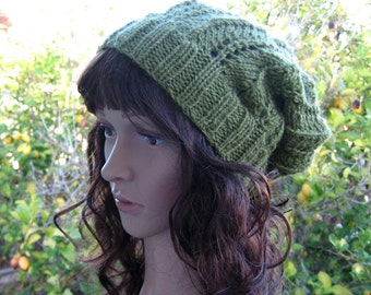 Lacey knit sage green loose fit beanie, green hippie hat, boho knit lace slouchy cap