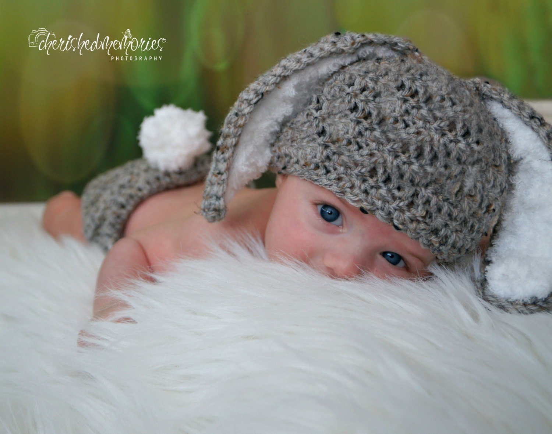 Crochet Baby Hat Easter grey baby Bunny Rabbit Ears Photo
