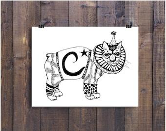 Cat Art, Childrens Art, Nursery Art, Illustration Print, Art Print, 5 x 7 Art,  Circus Art, Animal Drawing, Pen and Ink Art, Black and White