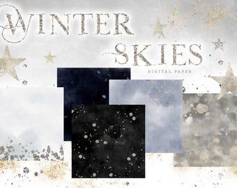 Winter Digital Paper - Watercolor Digital Papers - Sky Silver Glitter Paper - Snow Blue Grey Gray Black Christmas Digital Paper - Scrapbook