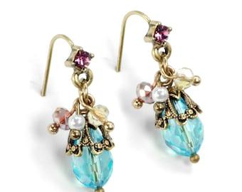 Aqua Earrings, Amethyst Earrings, Boho Earrings, Gypsy Earrings, Ocean Earrings, Cluster Earrings, Small Earrings, Ocean, Beach E1355