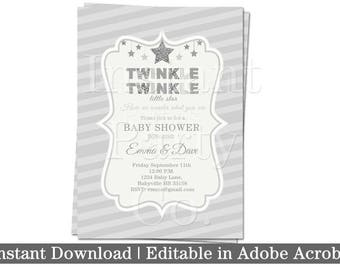 Twinkle twinkle little star baby shower invitation | Silver baby shower invitation | Gender reveal baby shower invitation
