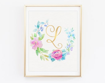 Letter C Typography Initial Poster Floral Wreath With