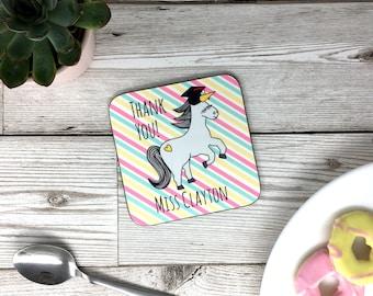 Personalised Gift 'Thank You Teacher' Nigel The Unicorn Coaster - Drinks Mat