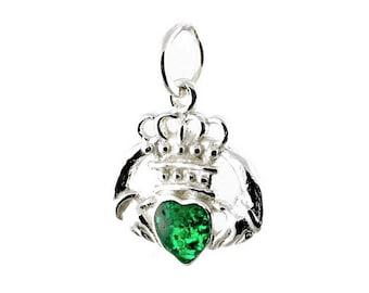 Sterling Silver Green Enamel Irish Claddagh Charm For Bracelets