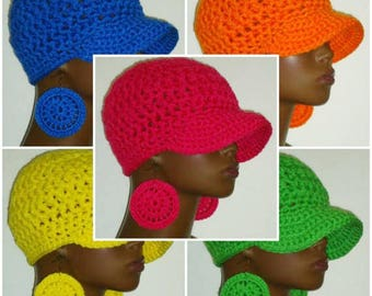 Bright Colors Chunky Crochet Baseball Cap with Hoop Earrings by Razonda Lee Razondalee