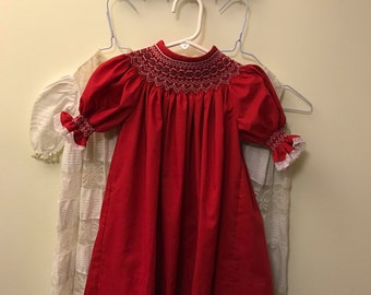 Handmade Girls Smocked Bishop Dress Christmas Red 6 mo 12 mo 18 mo 2 3 4 5 35.00+