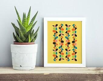 Wall Art Yellow Pattern, Art Print Poster, Wall Art Livingroom, New Apartment Decor, Livingroom Decor Prints