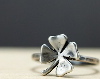 Four Leaf Clover Ring Sterling Silver