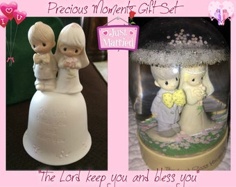 Wedding Gift, Precious Moments Wedding Gift Set with Bride and Groom Bell and Snowglobe