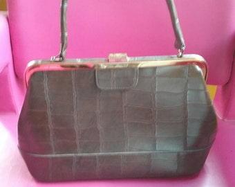 Vintage 60s brass hardware leather handbag