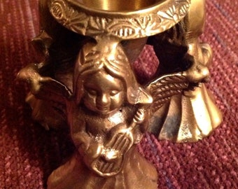 Brass 3 Angels Taper Candle Holder Musicians nstruments Christmas