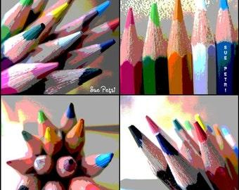 Color Pencil Photos, Four Still Life Photos, Color Photography. Artroom Decor,  Kidsroom Art, Teens, Art Teachers Gift