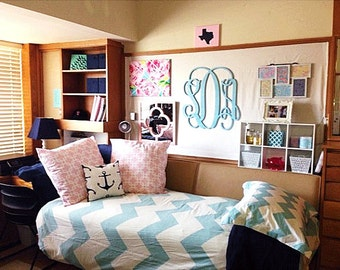 Dorm Room Decor // Wooden Monogram Wall Hanging // Dorm Room Ideas //