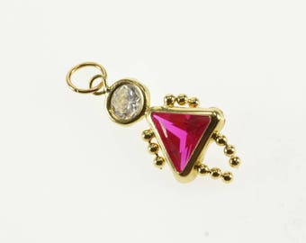 10k Ruby* July Birthstone Baby Girl Cubic Zirconia Pendant Gold