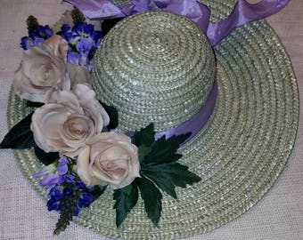 Hat flowers composition with rose springs