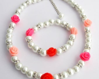 Flower Girl Jewelry Set, Rose Flowers and White Pearl Jewelry, Multi Colored Resin Rose Flowers, Flower Girl Gift Jewelry, Free Shipping USA