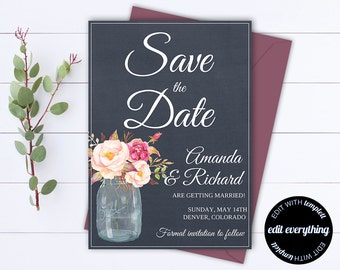 Navy Floral Save the Date Wedding Template - Floral Save the Date Card -  Save the Date Invite - Printable Save Date - Save Our Date