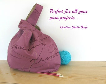 Knitting bag, Large knitting project bag, Knitting accessories, Tote bag, Warm Plum ladies handbag