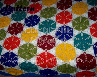 Crochet hexagon and triangle blanket Pattern. Granny hexagon afghan pattern, granny triangle, hexagon blanket crochet pattern. Bed blanket