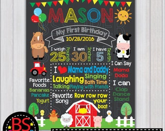 Farm Birthday Chalkboard Sign, Farm First Birthday Chalkboard Poster, ANY AGE
