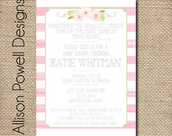 Pink watercolor baby shower invitation - Print your own or printed and shipped