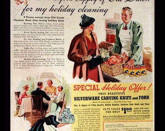 1937 Old Dutch Cleanser Ad - Cleaning - Wall Art - Home Decor - Kitchen - Silverware Offer - Retro Vintage Household Advertising