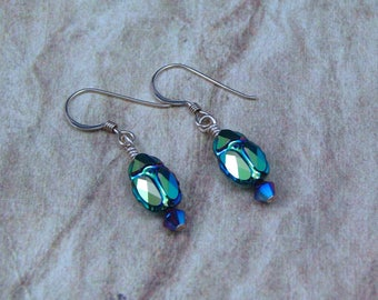 Crystal Scarab Earrings on Gold Filled Ear Wires, Green Scarab Jewelry, Egyptian Style Scarab Earrings, Gift for Her