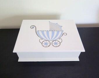 Baby Boy Keepsake, Memory box, newborn gift , Christening or Baptism box - Handpainted