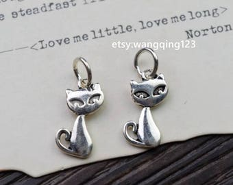 2 pcs cat charm pendant in oxidized 925 sterling silver, YB2