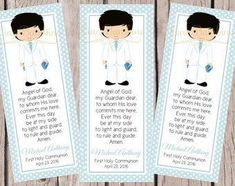 PRINTABLE First Holy Communion Bookmark / Choose Hair and Skin Color / Print Your Own Personalized Communion Bookmarks for Favors - HC22