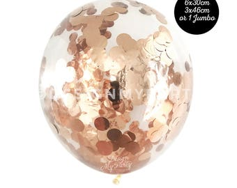 Rose Gold Confetti Balloons, Copper Balloons, Rose Gold Balloons (3 Sizes Available) DMP079