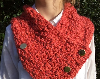 Crocheted Melon-toned Neck Warmer/ Scarflette