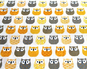 Fabric coupon 50 x 70 cm little yellow owls