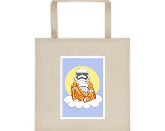Farmers Market Tote bag with Storm Trooper Buddha