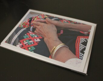 "Blank Photo Greeting Card, 7"" x 5"", 'Yunnan Hands'"