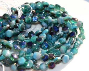 Deep Ocean Blue 5mm Nailhead, Czech Glass Beads  25