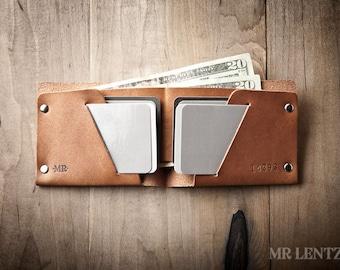 Mens Wallet, Mens Leather Wallet, Minimal Leather Wallet, Thin leather wallet, Leather Bifold 013