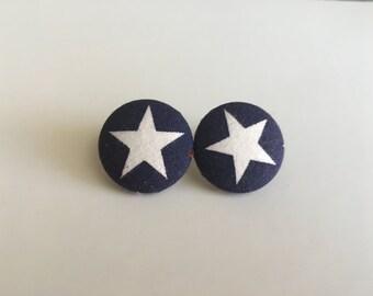 Star Fabric Button Earrings