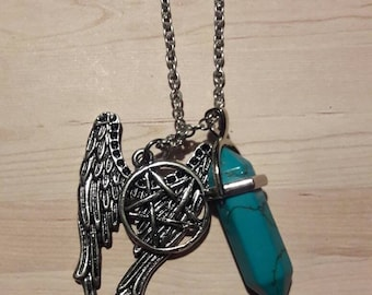 Next day ship- Wing turquoise wiccan charm necklace turquoise stone scrying charm wings charm wiccan pentagram charm