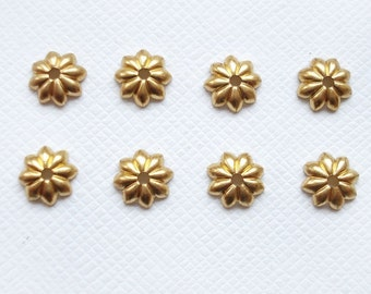 8 x 8mm Raw Brass Daisy Bead Caps