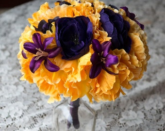 Yellow and Eggplant / Plum Wedding Bouquet