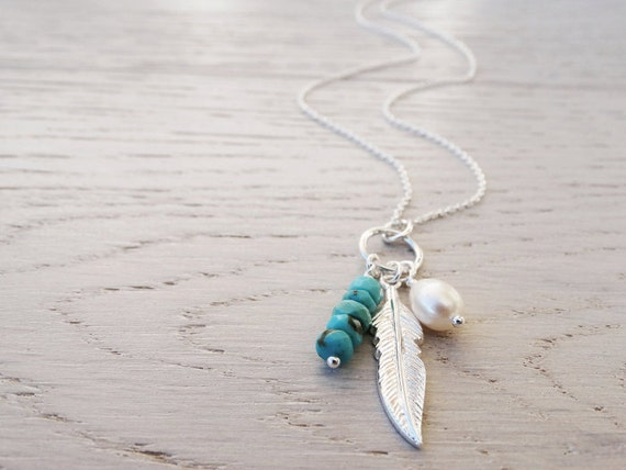 Silver Feather & Turquoise Necklace - Sterling Silver