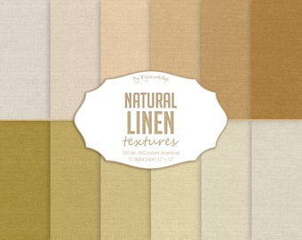"Linen Digital paper ""Natural Linen"" with digital linen paper, fabric textures, linen backgrounds in neutral tones"